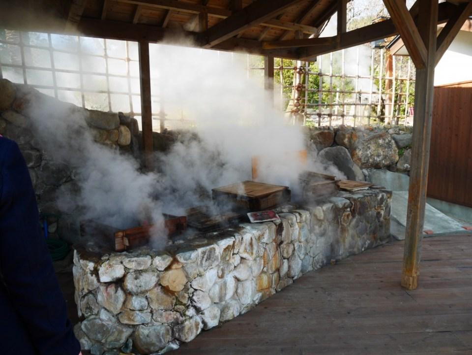 Aliments cuits à la vapeur de l'activité volcanique