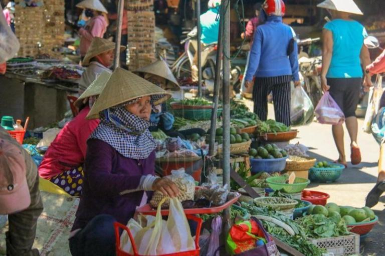 A vendor at a market