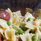 Pasta with Salami and Peas