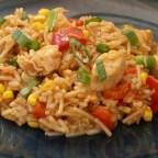 BBQ Chicken, Veggies and Rice Skillet