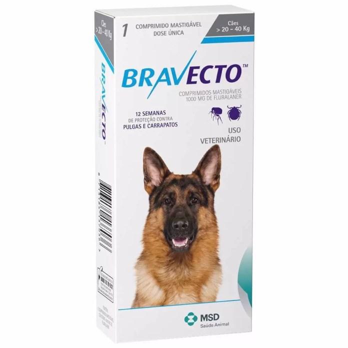 Bravecto Para Cães De 20 A 40kg - comprimido para carrapato