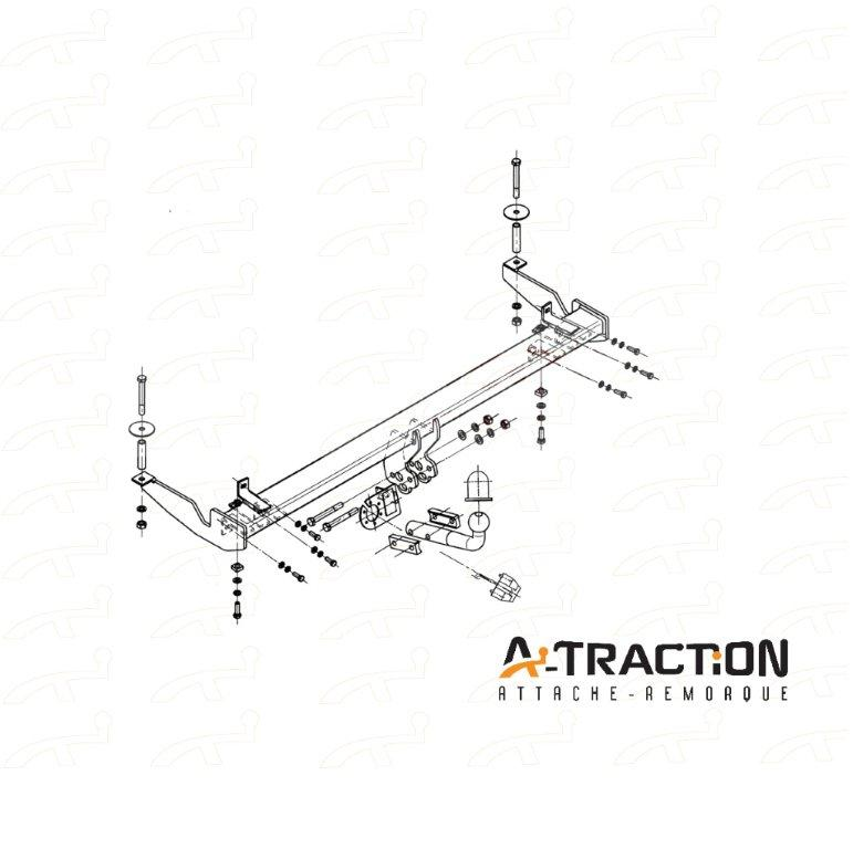 Attache-remorque Fiat Doblo I 2001-2009 Kit d'attelage complet