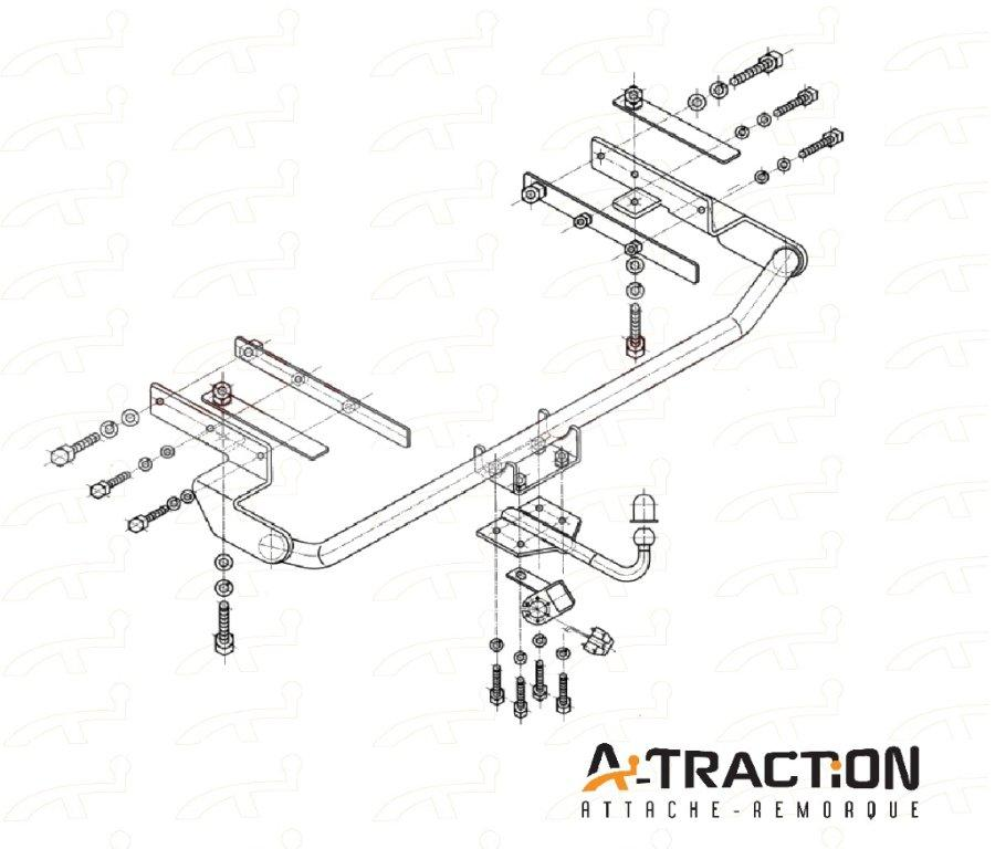 Attache-remorque Fiat Stilo 2001-2007 Kit d'attelage complet