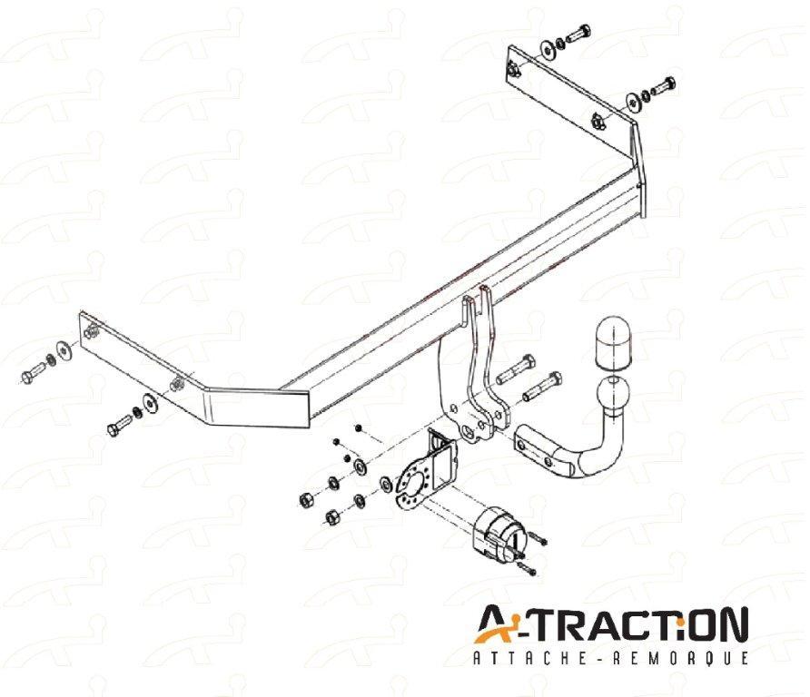 Attache-remorque Vw Polo 6R 2009- Audi A1 2010- Kit d