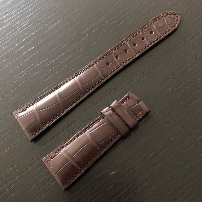 パテックフィリップ(PATEK PHILIPPE)レザー(革)ベルト 21×16mm ダークブラウン×ホ同色ステッチ Dバックル用 未使用4-00