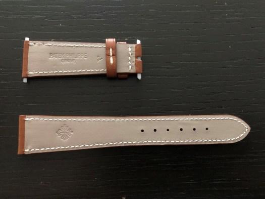 パテックフィリップ(PATEK PHILIPPE)レザー(革)ベルト 20×16mm ブラウン×アイボリーステッチ 未使用6-02