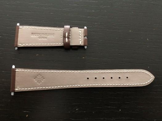 パテックフィリップ(PATEK PHILIPPE)レザー(革)ベルト 20×16mm ライトブラウン×アイボリーステッチ 未使用7-02