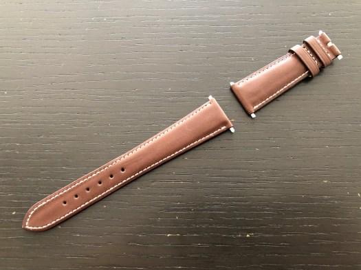 パテックフィリップ(PATEK PHILIPPE)レザー(革)ベルト 20×16mm ライトブラウン×アイボリーステッチ 未使用7-03