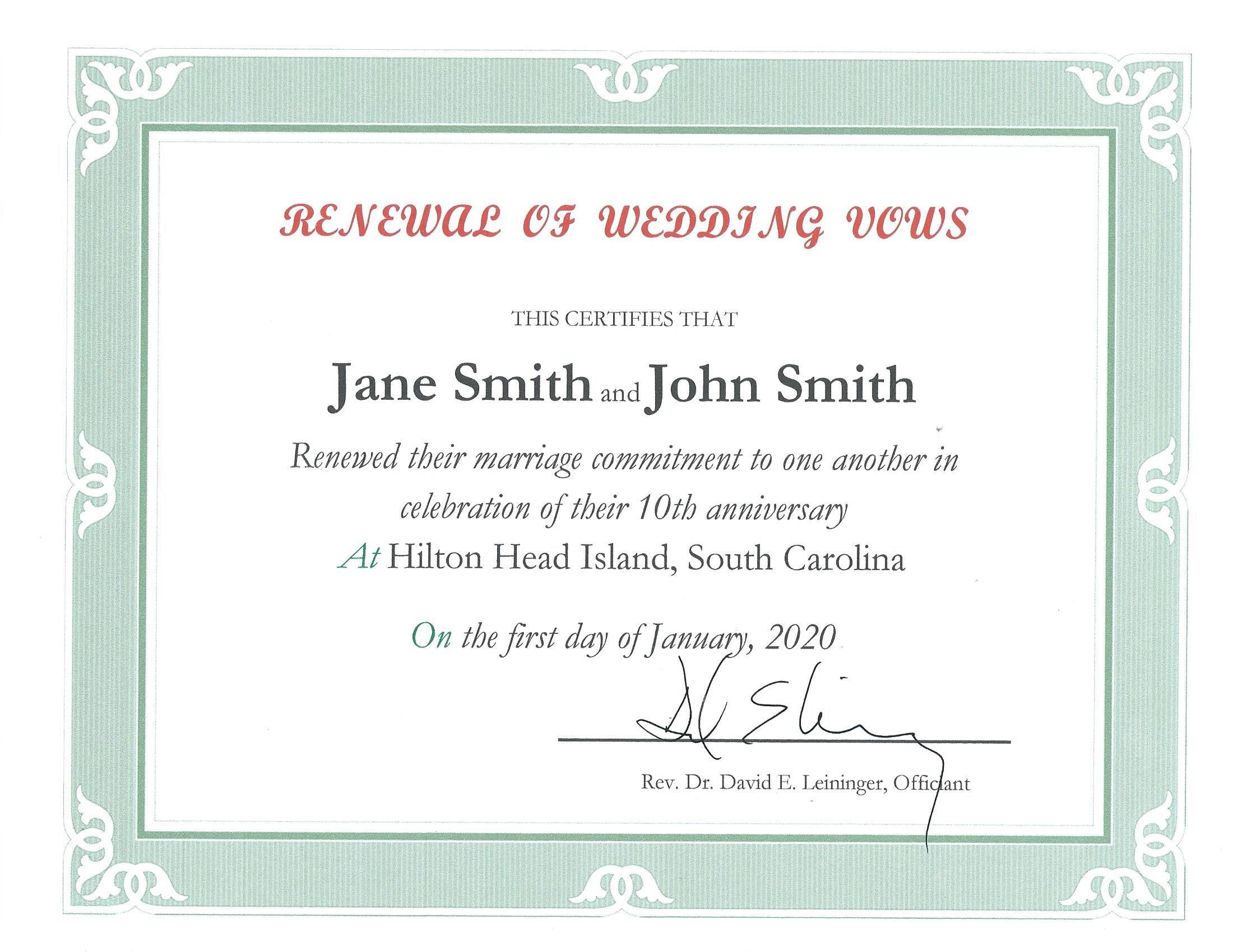 Renewal of Wedding Vows in Hilton Head SC  A Wedding in Paradise