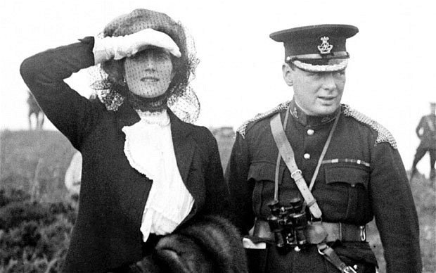 Winston Churchill and his wife Clementine, during a visit to Aldershot, Hampshire, for army manueuvres, 1910