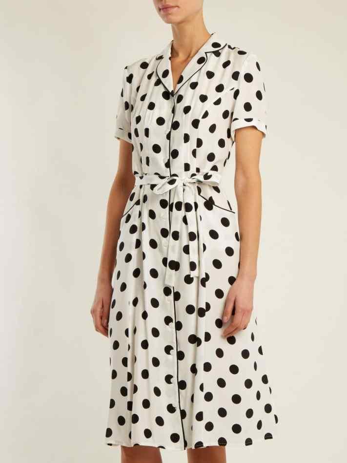 HVN-Maria-Large-Polka-dot-Print-Silk-White-Black-Dress-4