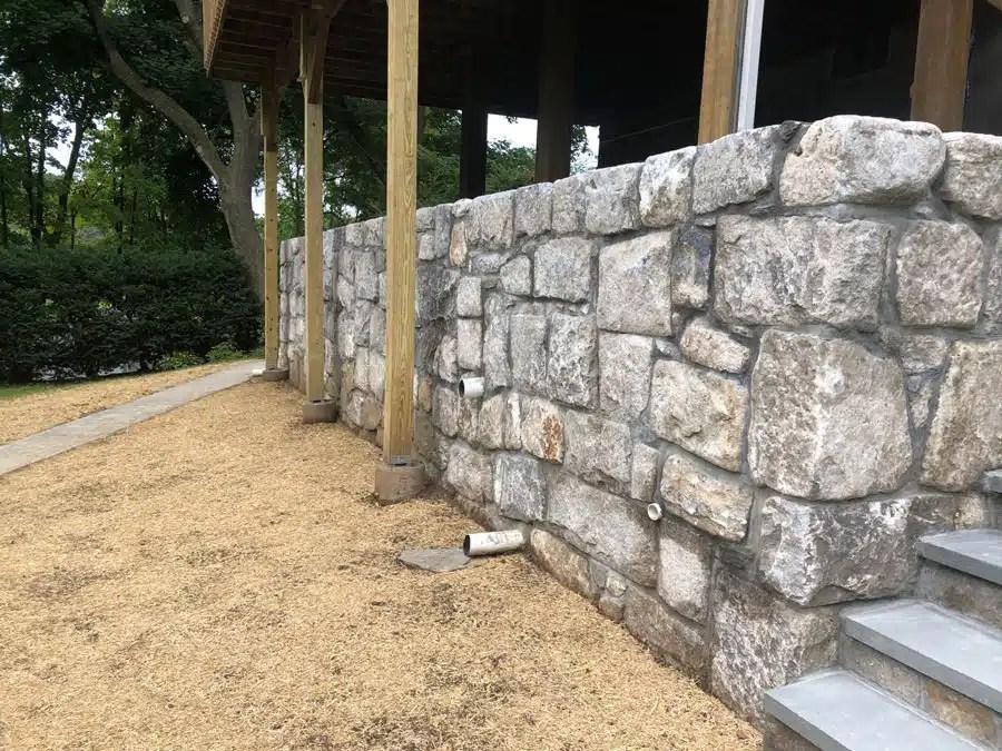 Stone Wall Masonry with Stairs