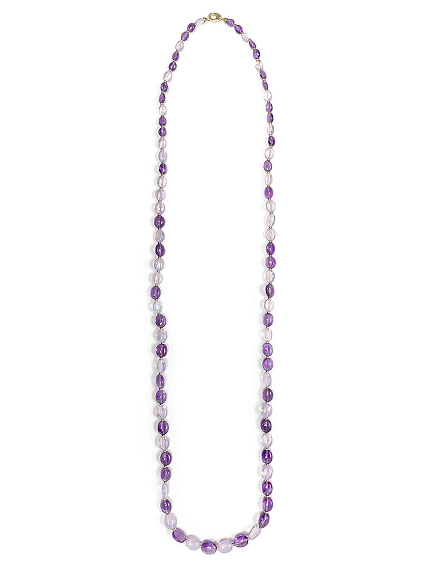 Lavender Moon Quartz : lavender, quartz, Goshwara, 1-Strand, Amethyst, Lavender, Quartz, Tumbled, Beads, Necklace, 1stDibs