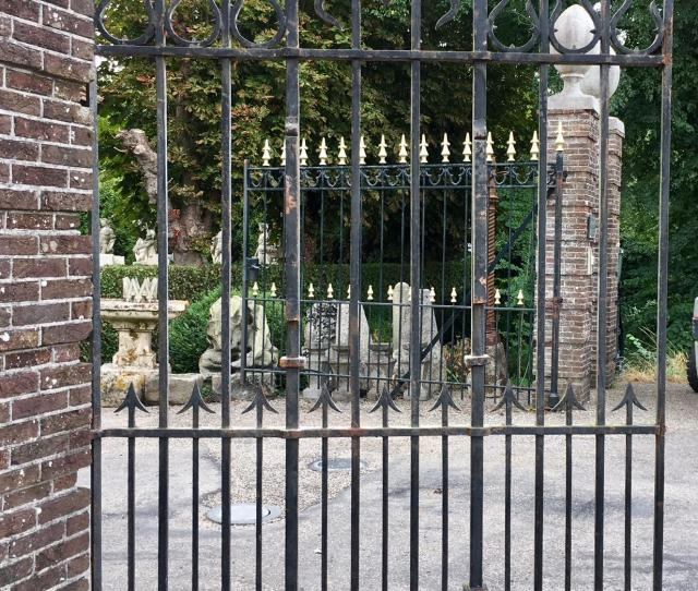 Meters Of Antique Wrought Iron Fencing In Fair Condition For Sale In Baambrugge Nl