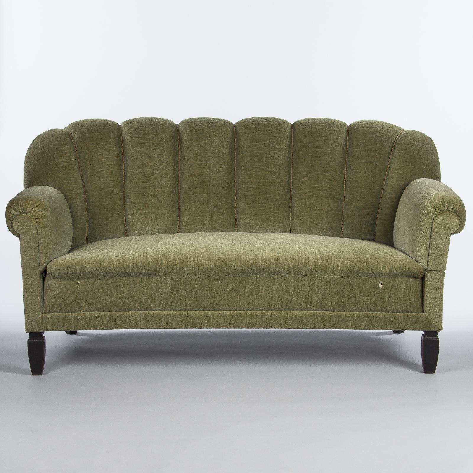 1940s Green Upholstered French Sofa Settee For Sale At 1stdibs