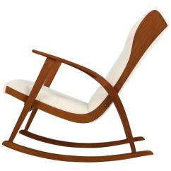 Cheap Modern Rocking Chair High Back Covers For Sale 1950s Reclinable With Teddy Fur And Leather Mid Century