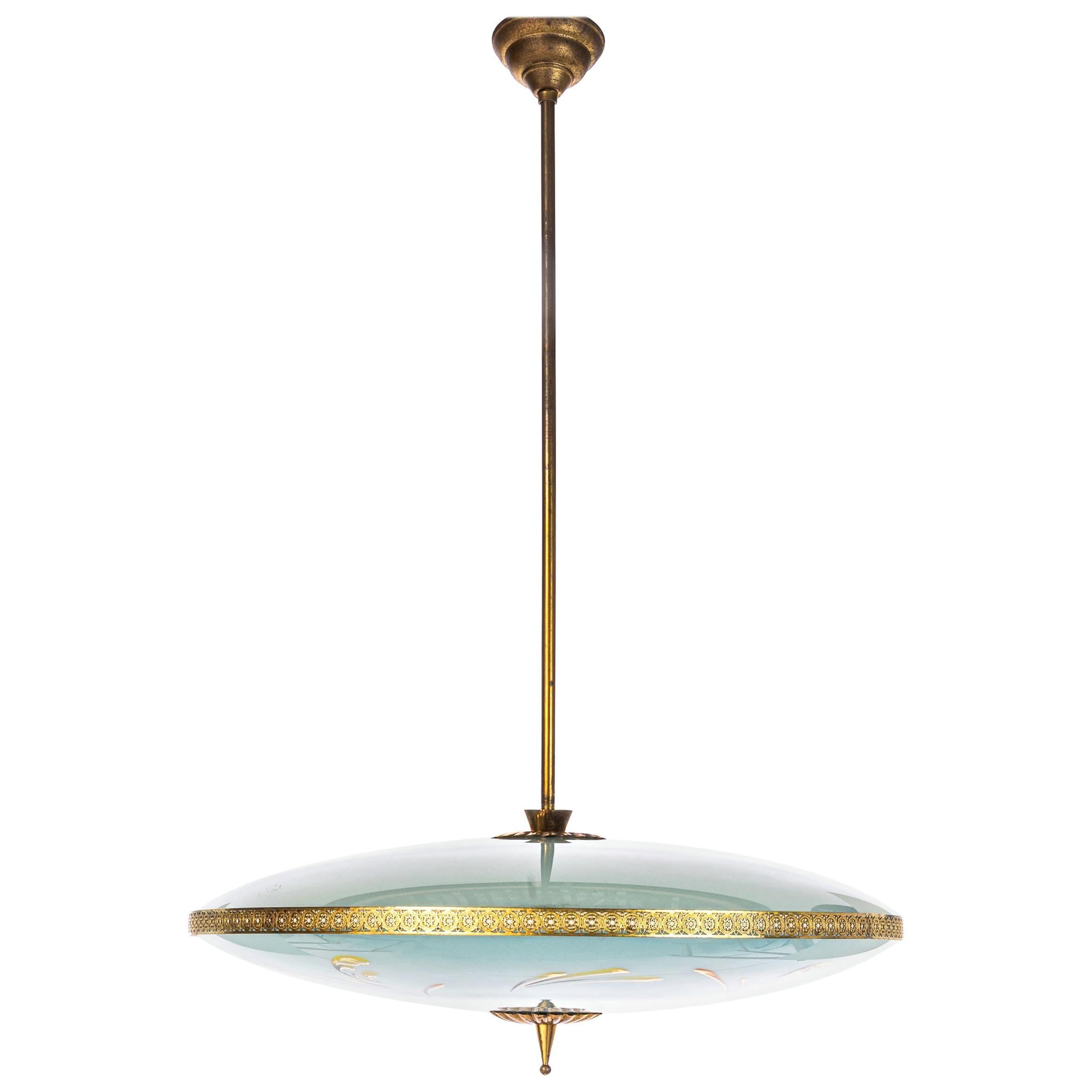 1950 s stunning brass glass pendant in style of pietro chiesa