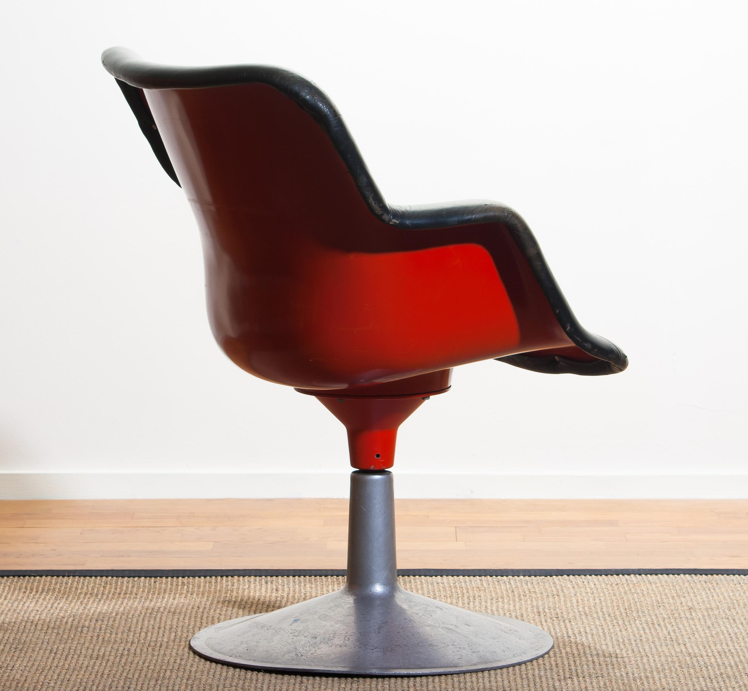Red Leather Swivel Chair 1960s