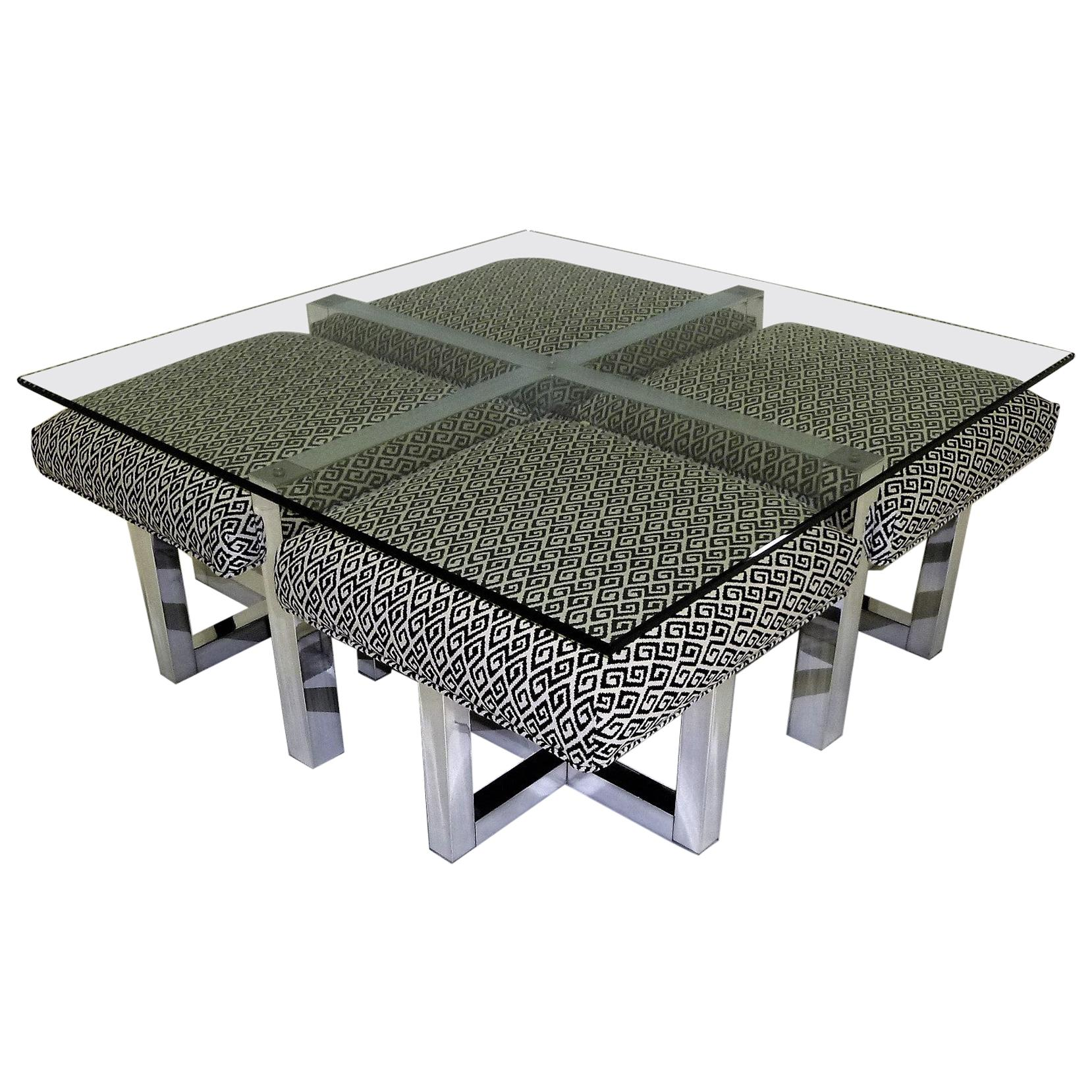 1960s milo baughman style glass top coffee table with nesting ottomans