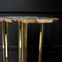 1960s Vintage Agate Top, Brass and Chrome Legs, Side Table ...