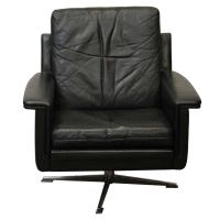 1970s Black Midcentury Swiveling Modern French Chair with ...