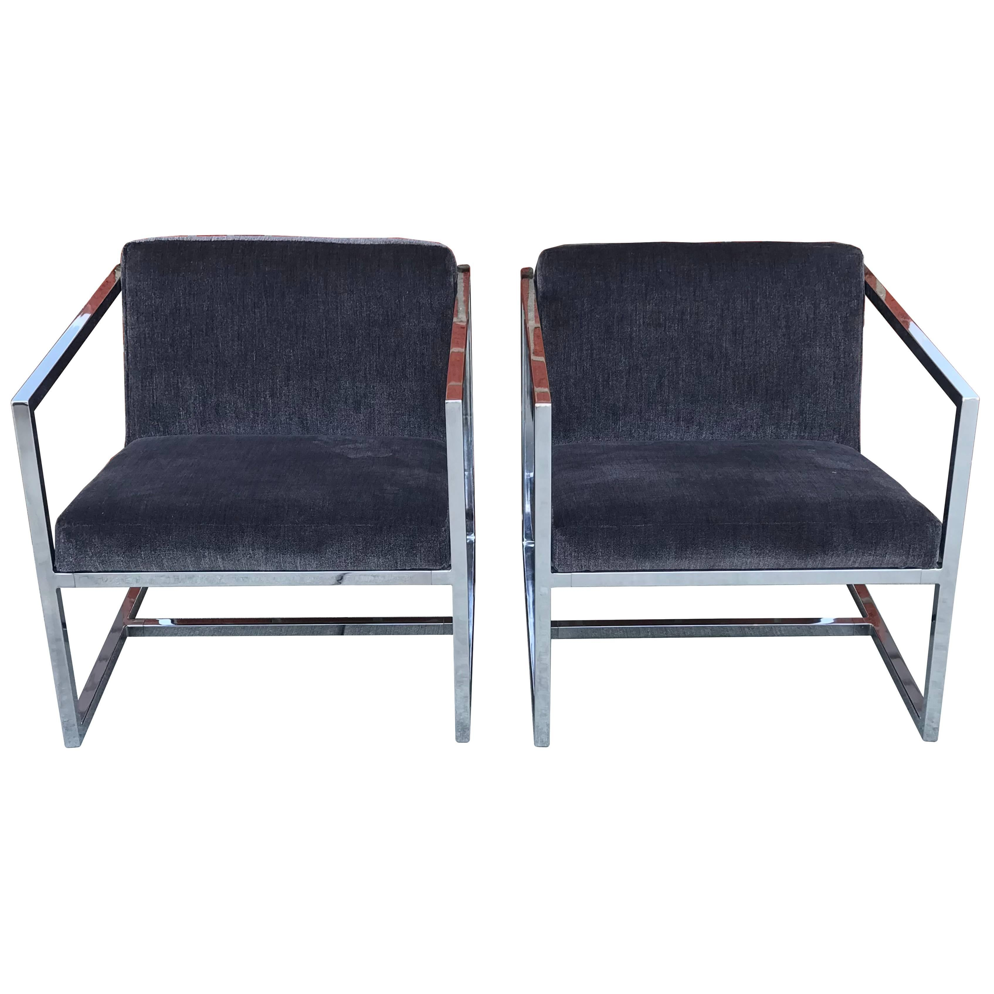Cube Chairs 1980s Milo Baughman Style Chrome Cube Chairs In Gray Scalamandre Velvet Pair