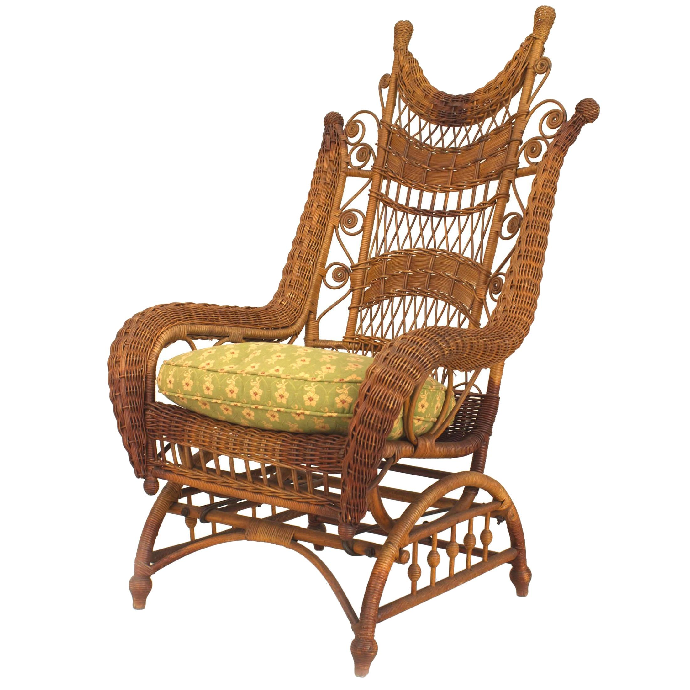 wicker rocking chairs iron outdoor melbourne 19th century american ornate high back chair for sale