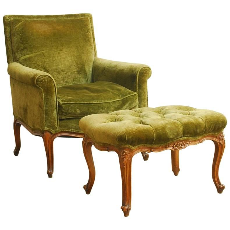 french velvet chair bedroom john lewis 19th century library with ottoman at 1stdibs for sale