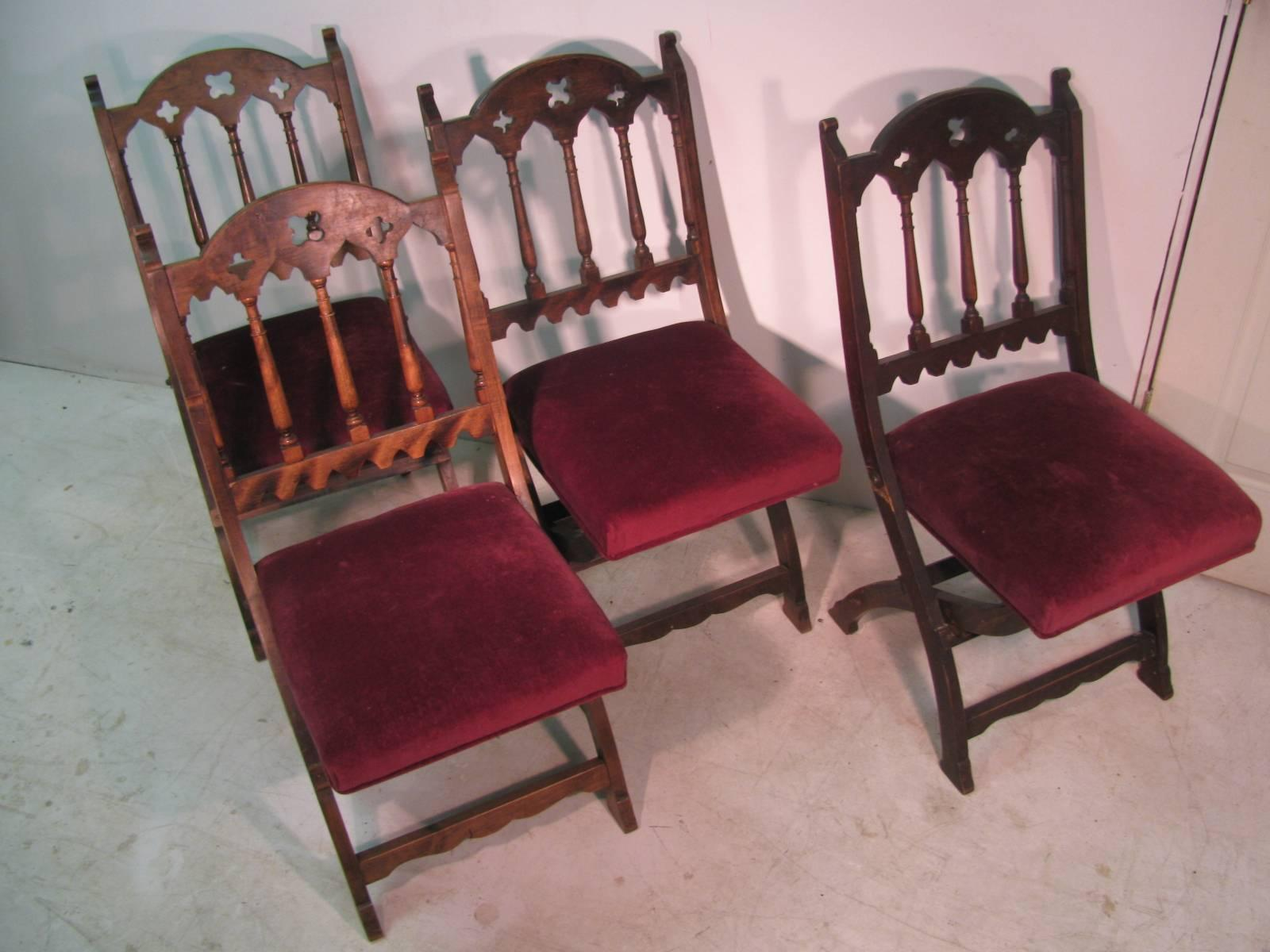 wooden church choir chairs inflatable chair kids 19th century set of four gothic style for sale at 1stdibs