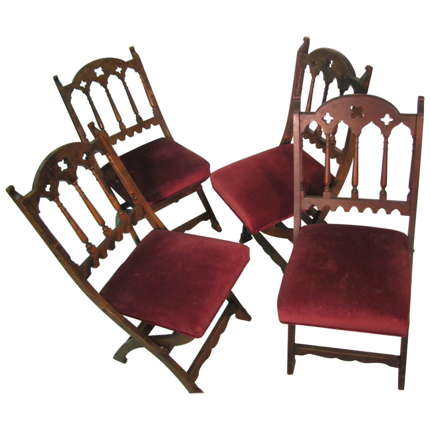 wooden church choir chairs high chair accessories 19th century set of four gothic style for sale