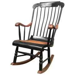 Woven Rocking Chair King Design 19th Hitchcock With Seat And Black Painted For Sale