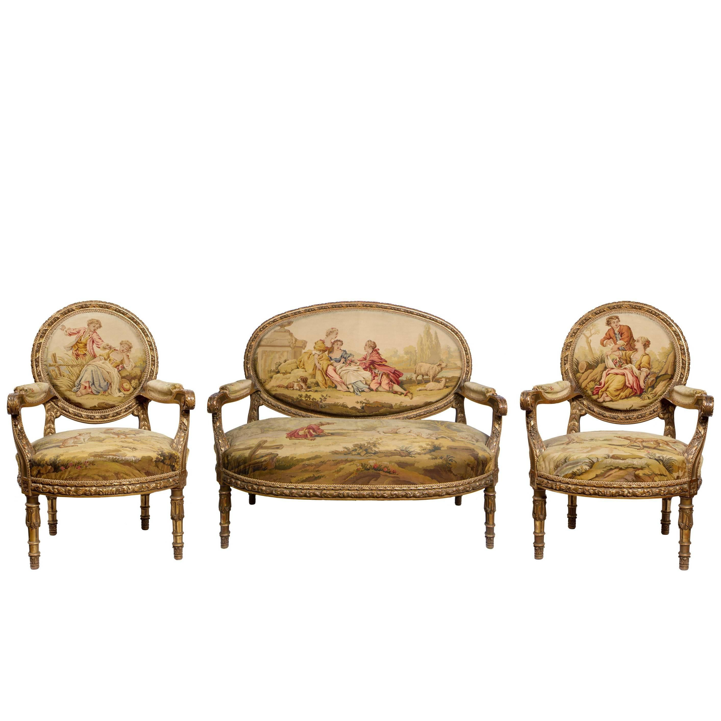 Salon Beige Org 19th Century French Aubusson Carved Giltwood Salon Suite With Settee And Chairs