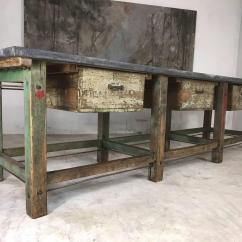 Kitchen Workbench Island Chairs With Backs 20th Century Vintage Industrial Loft Warehouse Zinc Top For Sale 1