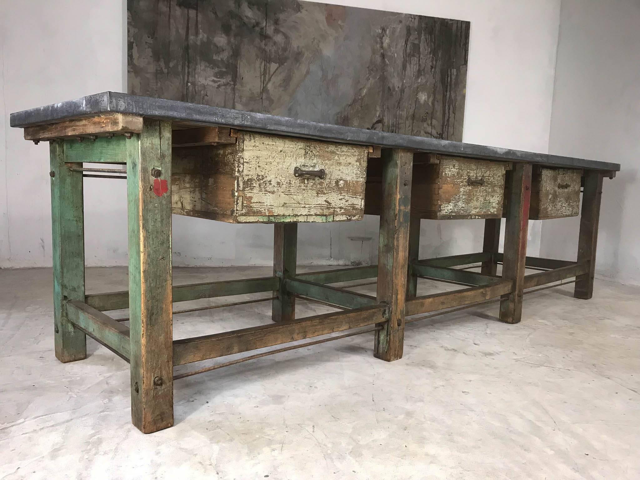 kitchen workbench worktops 20th century vintage industrial island loft warehouse zinc top for sale 1
