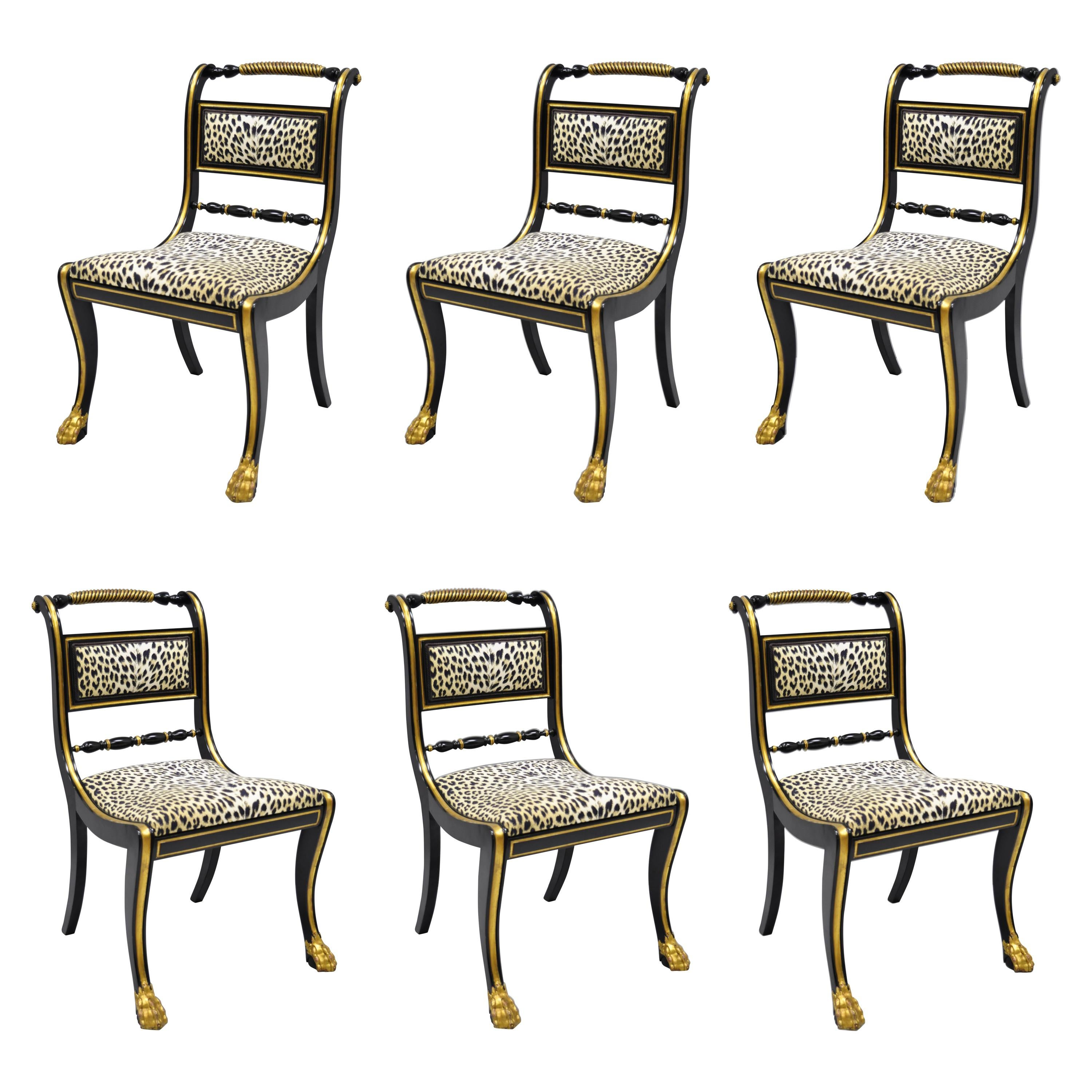 dining chairs fabric oversized corner reading chair 6 black and gold regency style paw feet leopard for sale