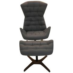 Reclining Chair With Ottoman Leather Headrest Covers Suppliers 808 Fabric And Swivelling Recliner By Gebruder Thonet For Sale