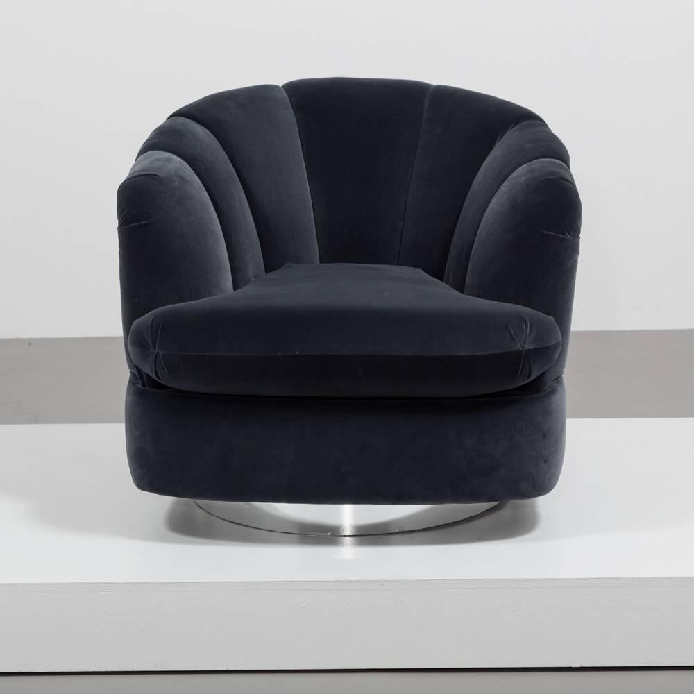 quilted swivel chair paula deen dogwood dining chairs single back by milo baughman 1980s for sale at a charcoal velvet directional fully rebuilt
