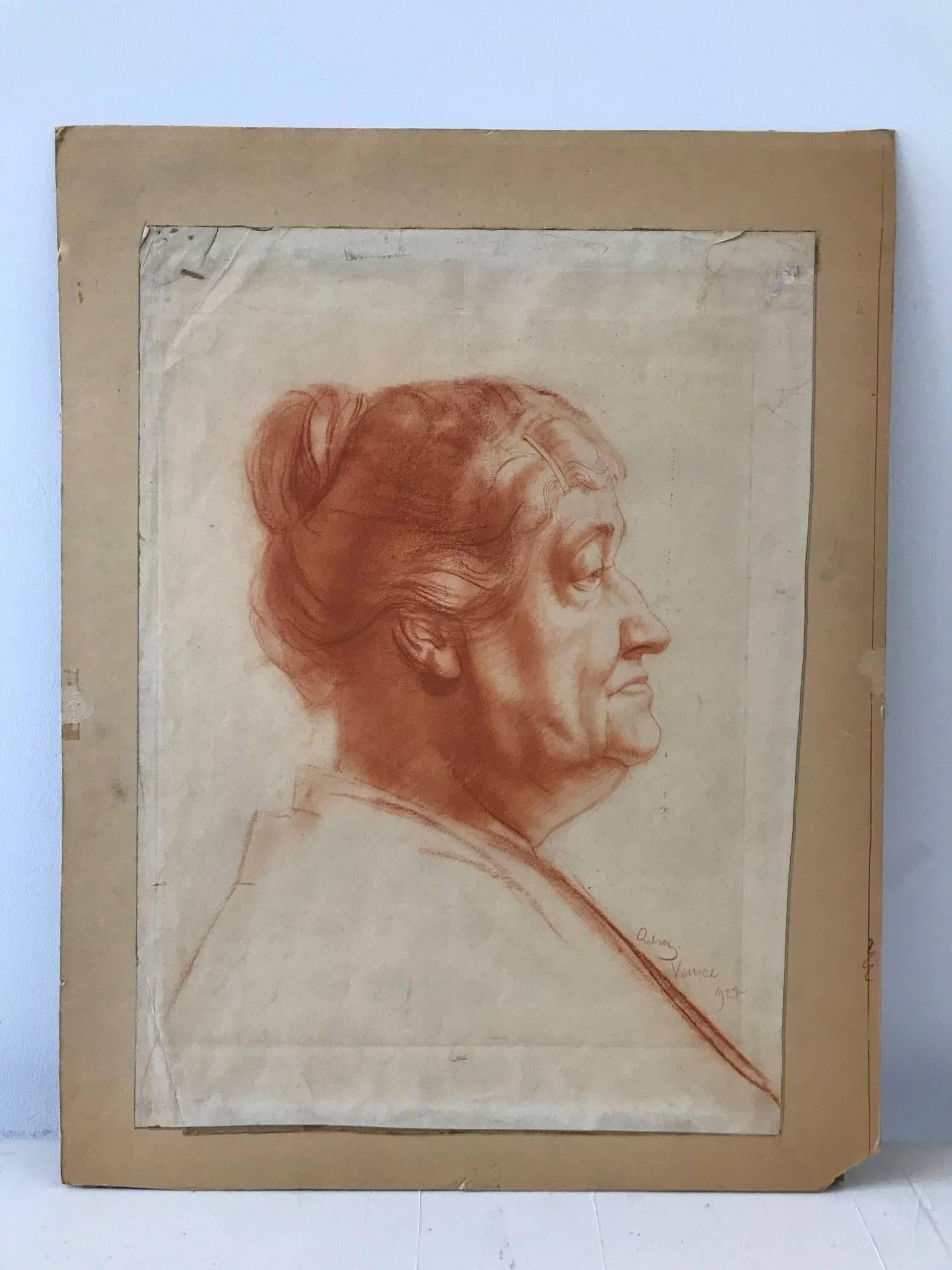 John Gilroy Venice Red Charcoal Profile Of An Elderly