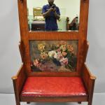 Antique Arts And Crafts Tiger Oak Mission Hall Coat Rack Tree Mirror Bench Seat For Sale At 1stdibs