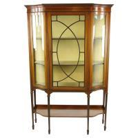 Antique Curio Cabinet, Display Cabinet, Walnut, Serpentine ...