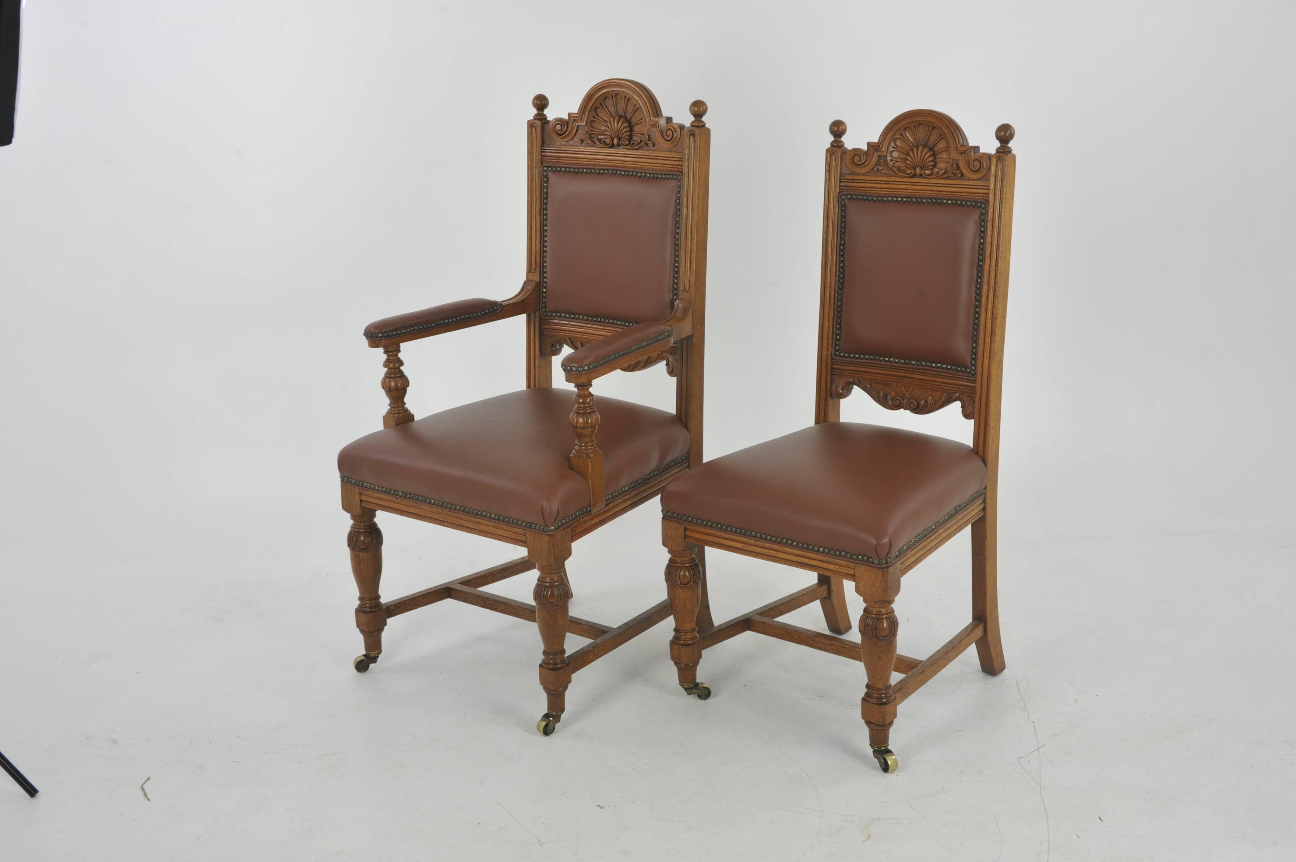 antique oak dining chairs how to make chair covers for christmas carved six scotland 1880 at 1stdibs 5 1