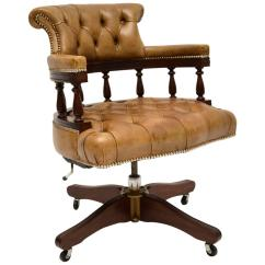 Antique Mahogany Office Chair Pictures Of Covers And Sashes Leather Swivel Desk For Sale At 1stdibs