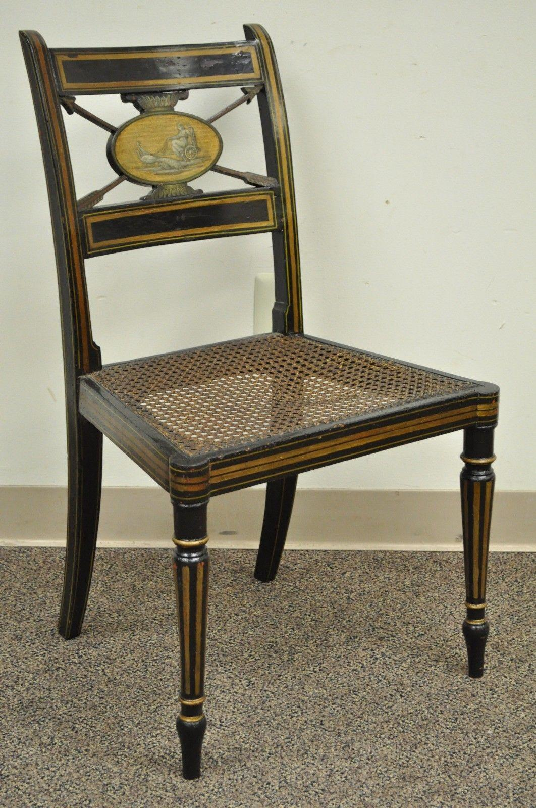 Antique Accent Chairs Antique Neoclassical Black Lacquered Desk Telephone Table Stand And Accent Chair