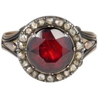 Antique Red Garnet Diamond Ring For Sale at 1stdibs