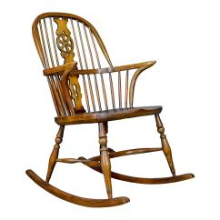 Antique Rocking Chairs For Sale Cherry Wood Dining Room Chair English Edwardian Windsor Stick Back Elbow Circa 1910