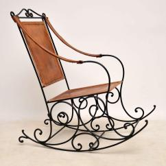 Wrought Iron Rocking Chair Parson Slipcovers Dining Chairs Antique And Leather For Sale At 1stdibs