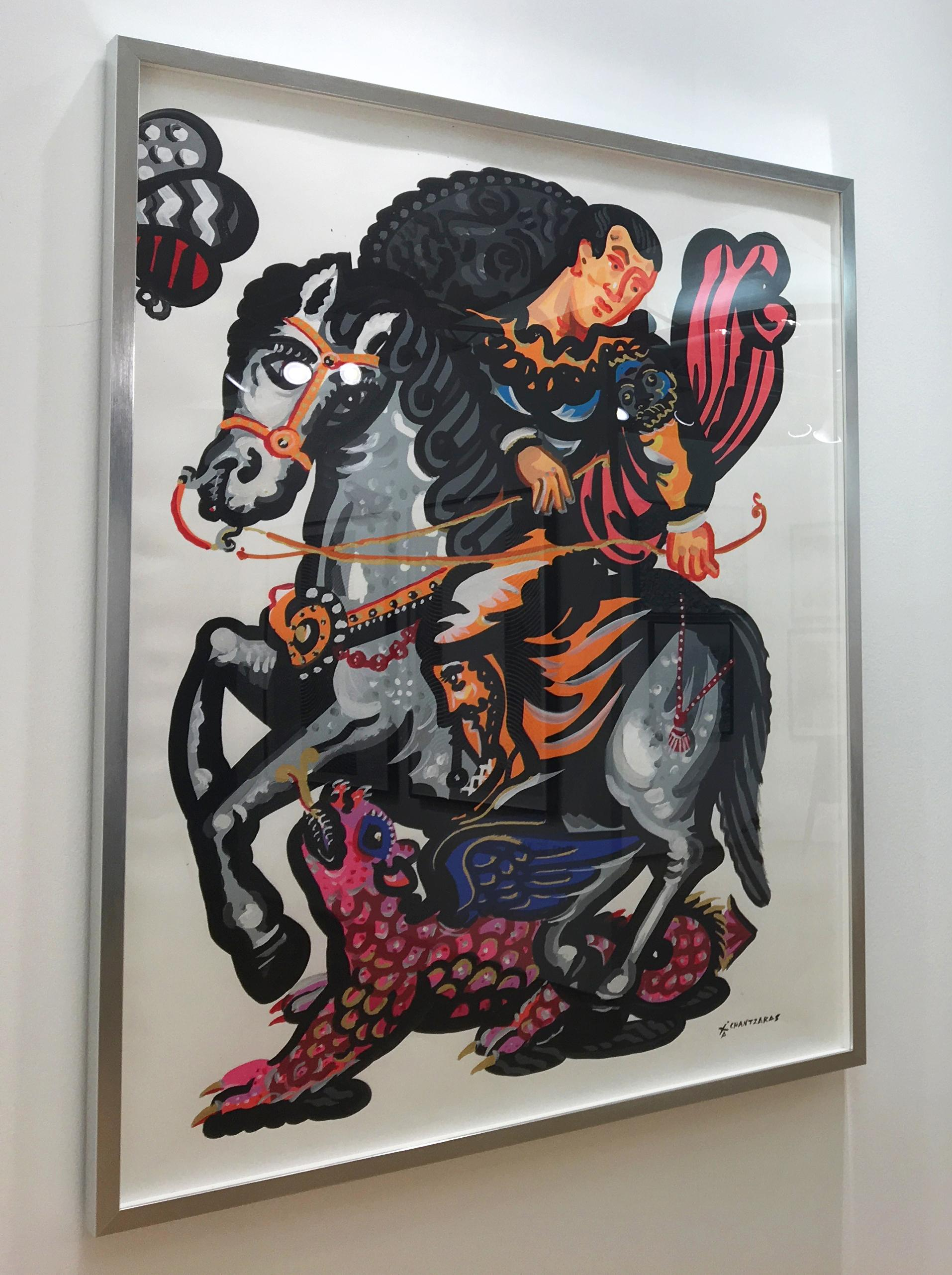 Rider And The Pink Dragon Popart Contemporary Style Classical Bold Painting