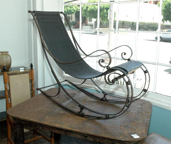 wrought iron rocking chair baby bamboo at 1stdibs amazing leather seat restored stunning detail