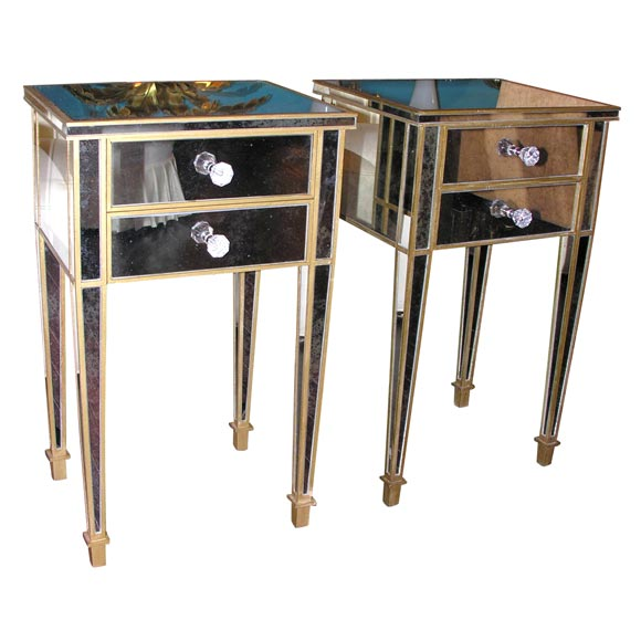 pair of 2 drawer gold trim mirrored nightstands