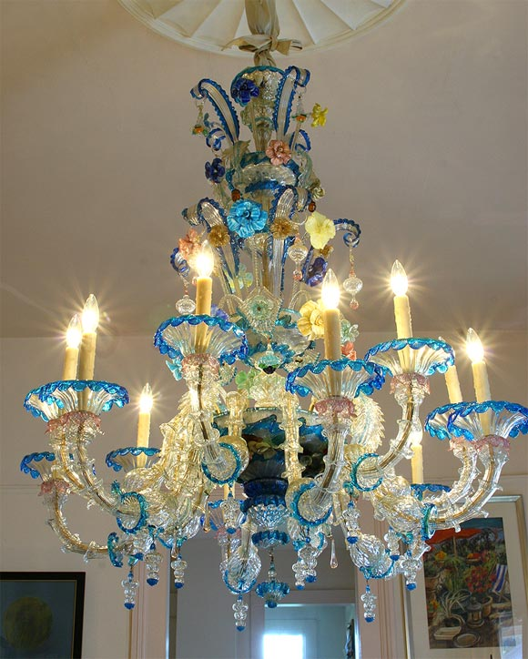 Venetian Chandelier Circa 1940 Exuberant Colors And Handn Flowers Twelve Lights